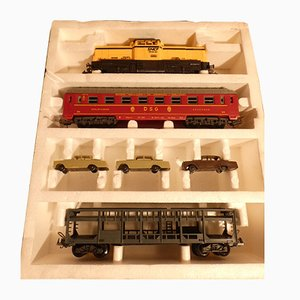 Diesel Locomotive SNCF 040.DE.532 SNCF with Transport Cars Mercedes SNCF from Lima, Italy, 1970s, Set of 7
