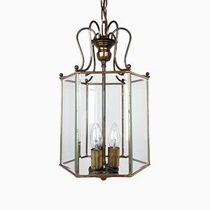 Lampada da soffitto in ottone e vetro lucidato, anni '60