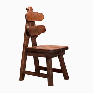 Mid-Century Vintage Burtalist Style Solid Oak Dining Chairs, Set of 6