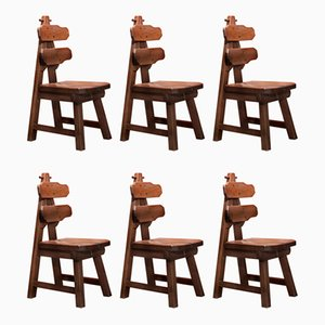 Mid-Century Vintage Burtalist Style Solid Oak Dining Chairs, Set of 6