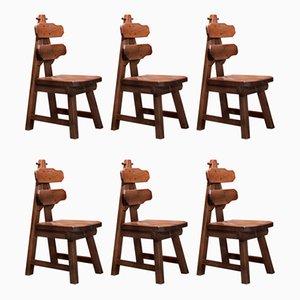 Sedie da pranzo Mid-Century in stile Burtalista in legno di quercia massiccio, set di 6
