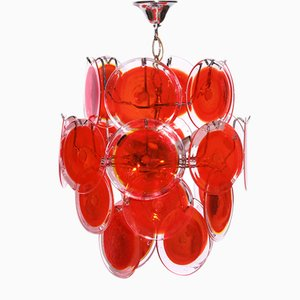 Vintage 24 Disk Murano Glass Chandelier, 1970s