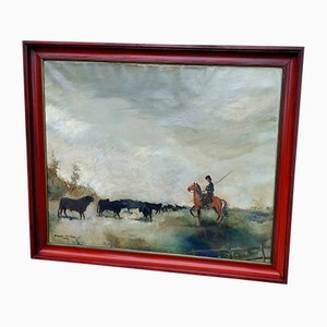 A Herdsman Horse and Herd of Bulls Painting, Oil on Canvas