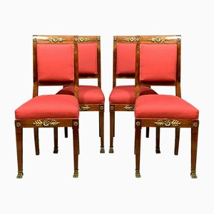 Mahogany and Gilt Bronze Dining Chairs, 1850s, Set of 4