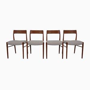 Chaises de Salon Modèle 77 Vintage par Niels Otto Møller pour JL Møllers, 1960s, Set de 4