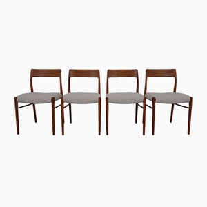 Vintage Model 77 Dining Chairs by Niels Otto Møller for J.L. Møllers, 1960s, Set of 4