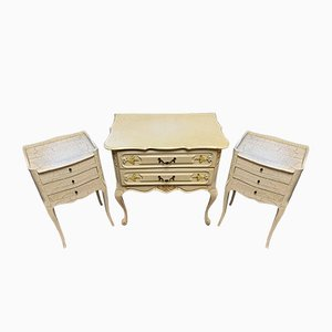 Lacquered Wood Chest of Drawers, 1950s, Set of 3