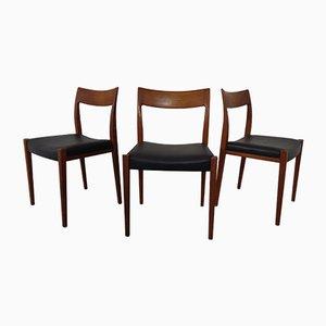 Schwedische Kontiki Teak Esszimmerstühle von Yngve Ekström für Hugo Troeds, 1950er, 3er Set