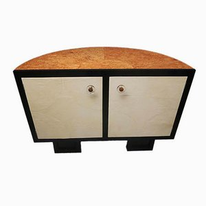 1930s Demilune Parchment French Art Deco Sideboard