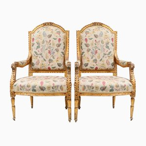 Antique Gustavian Gilt Armchairs, Set of 2