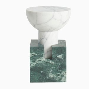 Block Side Table Bi-Colored Marble by Anna Karlin for Mmairo
