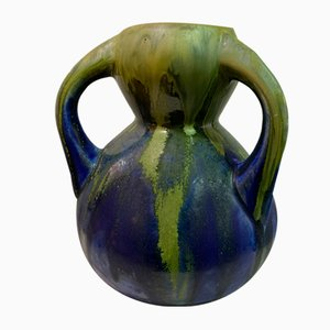 Glazed Stoneware Blue and Green Vase Attributed to Gilbert Metenier, 1930s