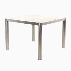 Tavolo da pranzo modello 100 in marmo bianco e alluminio di Kho Liang Ie & Wim Crouwel per Artifort, Olanda, anni '70