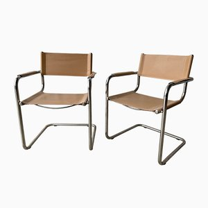 Vintage Italian Tubular Chrome and Leather Cantilever Lounge Chairs, Set of 2