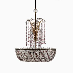 Italian Handcrafted Art Nouveau Waterfall Chandelier in Brass and Murano Crystal Glass
