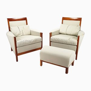 Art Deco Style Armchairs by Umberto Asnago for Giorgetti, 1980s, Set of 3