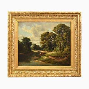 Antike Landschaftsmalerei mit Kühe und Wald, 20. Jahrhundert