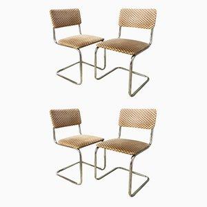 Esszimmerstühle mit Rohrrahmen, 1960er, 4er Set