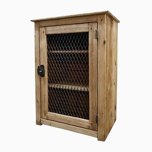 Wooden Jam Cupboard with Wire Mesh Door, 1920s
