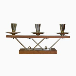 Art Deco Danish Silver & Teak Candle Holder with 3 Flames, 1960s