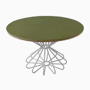 Ovaler Space Age Tisch mit Atomic Diabolo Rahmen aus Stahlrohr