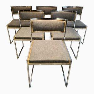 Chaises de Salle à Manger Mid-Century en Laiton et Chrome, Set de 6