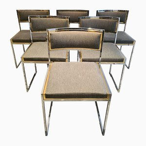 Mid-Century Brass & Chrome Dining Chairs by Willy Rizzo, Set of 6