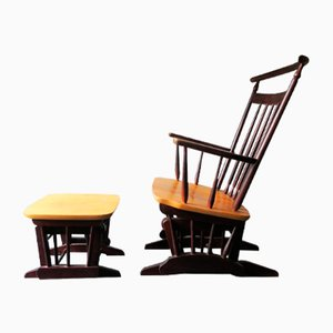 Sedia a dondolo e ottomana a dondolo, anni '60