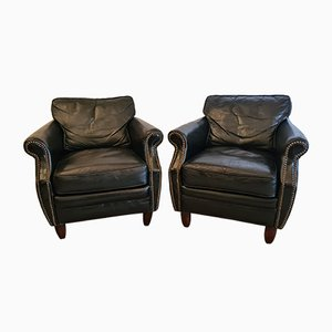Leather Armchairs, 1940s, Set of 2