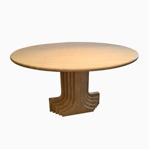 Vintage Round Travertine Dining Table by Carlo Scarpa