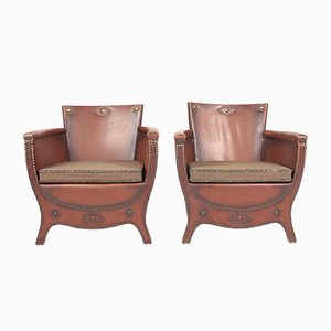 Painated Leather Lounge Chairs by Otto Schulz for Boet, 1950s, Set of 2
