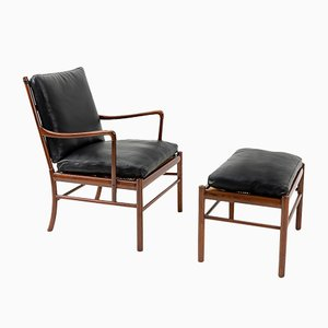 Mid-Century Colonial Lounge Chair and Ottoman by Ole Wanscher for Poul Jeppesens Møbelfabrik, Set of 2