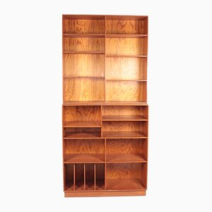 Mid-Century Bookcase in Patinated Origon Pine, Denmark, 1950s, Set of 2
