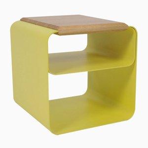 Sgabello o tavolino laccato con ripiano in quercia di AccardiBuccheri