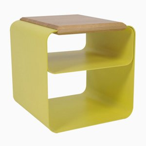 Small Lacquered Stool or Table With Oak Top by AccardiBuccheri