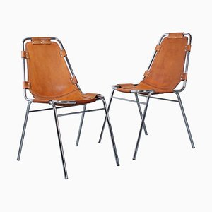 Les Arcs Leather and Chrome Chairs by Charlotte Perriand, 1960s, Set of 2