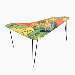 Mid-Century Coffee Table with Picasso Guitar Painting, 1960s