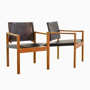 Scandinavian Solid Oakwood Armchairs with Black Saddle Leather, 1960s, Set of 2