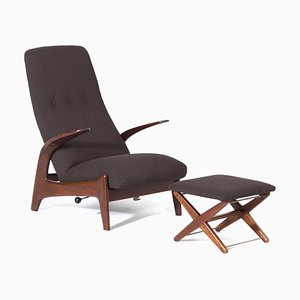 Lounge Chair & Footstool by Rastad & Relling for Gimson & Slater, 1960s, Set of 2