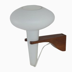 Mushroom Wall Lamp in Teak and White Glass from Artimeta, 1960s