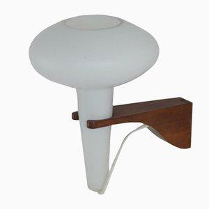 Mushroom Wandlampe aus Teak und weißem Glas von Artimeta, 1960er