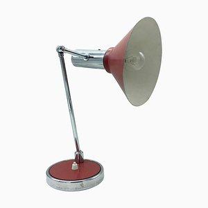 Lampada da tavolo rossa e cromata di Stilux, anni '50