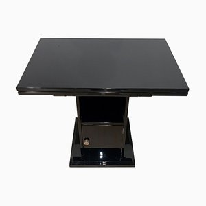 French Art Deco Black Lacquer Foldable Side Table with Compartment, France, 1930s
