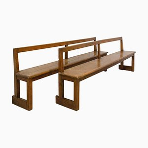 French Antique Style Farmhouse Benches with Backs, 1970s, Set of 2
