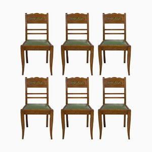 Art Deco French Green Oak Dining Chairs With Stylised Flowers, 1940s, Set of 6