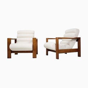 Mid-Century Oak Italian Armchairs, 1970s, Set of 2