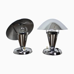 Czechoslovakian Chromed Lamps, 1930s, Set of 2