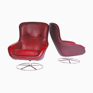 Leather Finnish Swivel Chairs, Set of 2