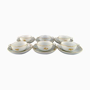 Set with Bouillon Cups & Saucers in Porcelain With Flowers and Foliage from Meissen