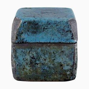 Lidded Jar in Glazed Ceramics with Metallic Glaze